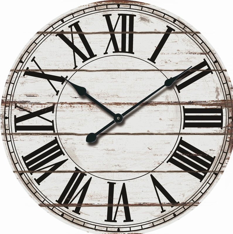"Oversized Rustic Wood 24"" Wall Clock"