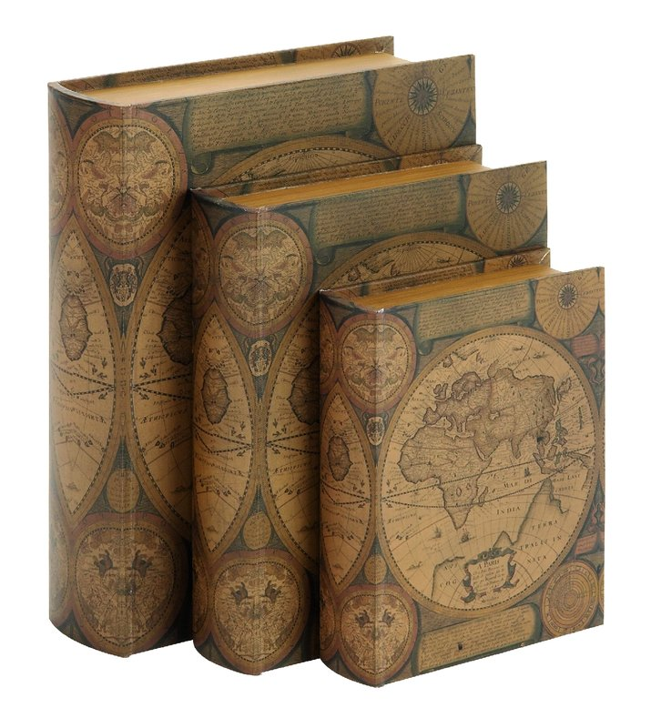 World Map 3 Piece Leather Book Box Set