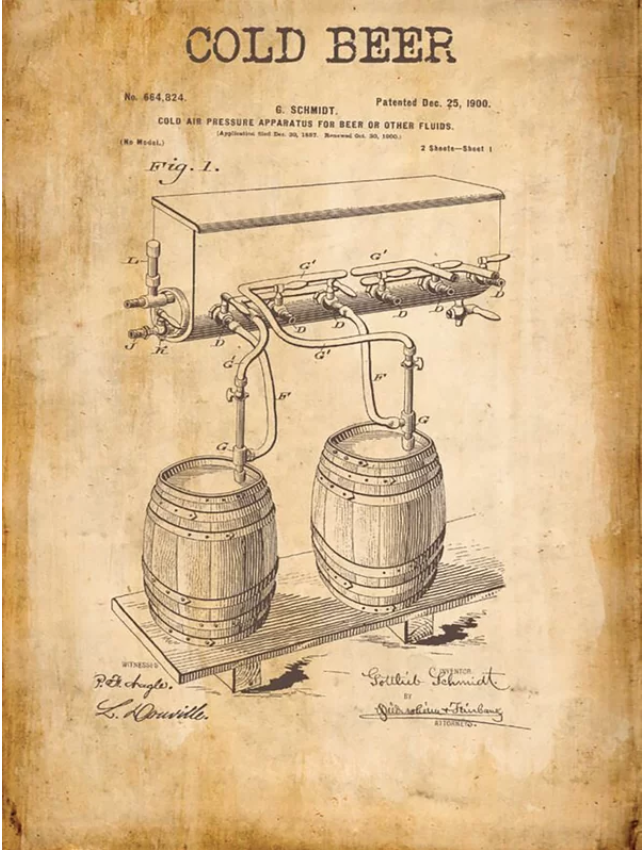 'Cold Beer Patent' Graphic Art on Metal