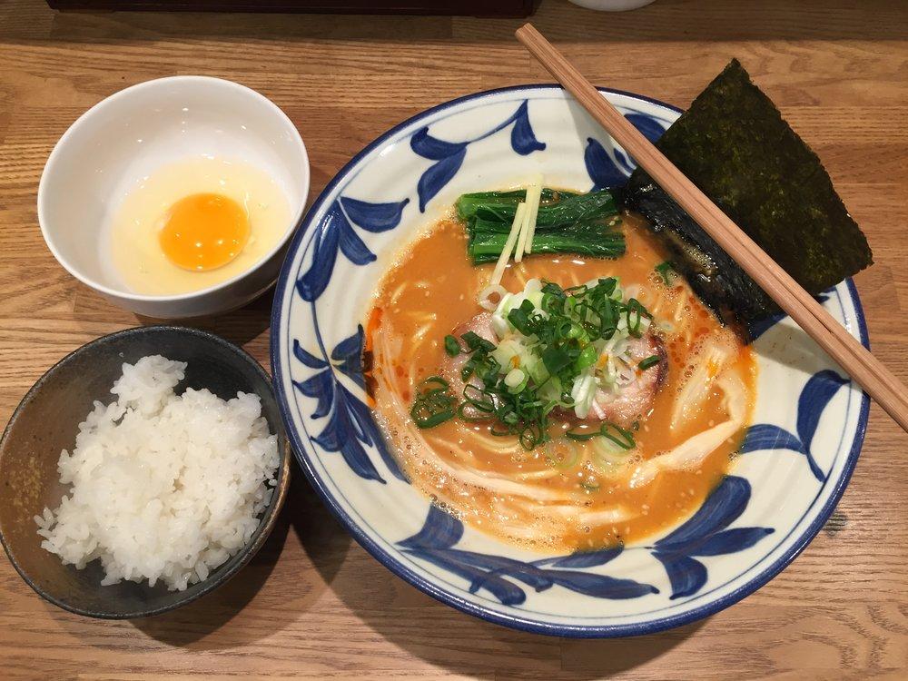 Kara Ramen (Spicy Ramen) with egg and rice