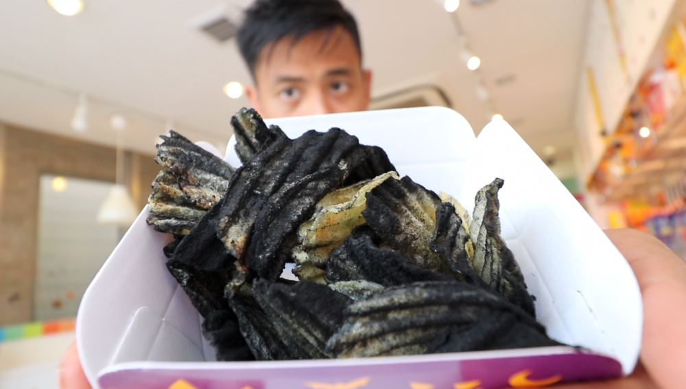 fresh-made potato chips with squid ink powder.