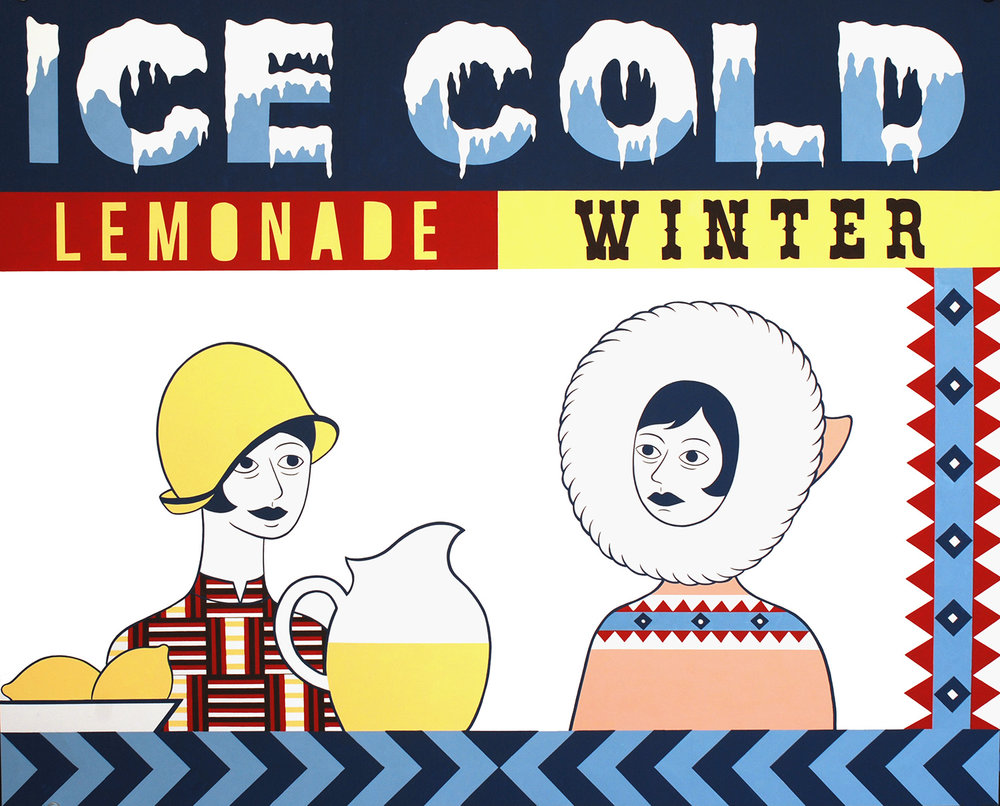 Ice Cold Lemonade / Winter   Gouache on paper, 21 X 26 in, 2013