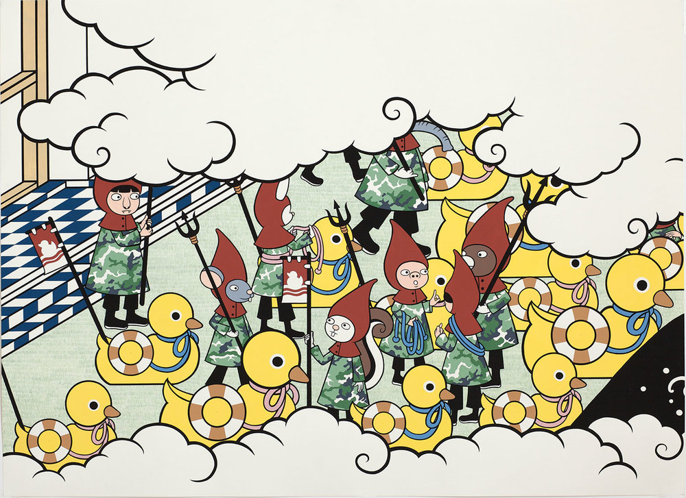 Space Invaders: the Next Generation   Panel #13, 22 X 30 in, gouache on paper, 2010. Photo curtesy of Chris Heins.