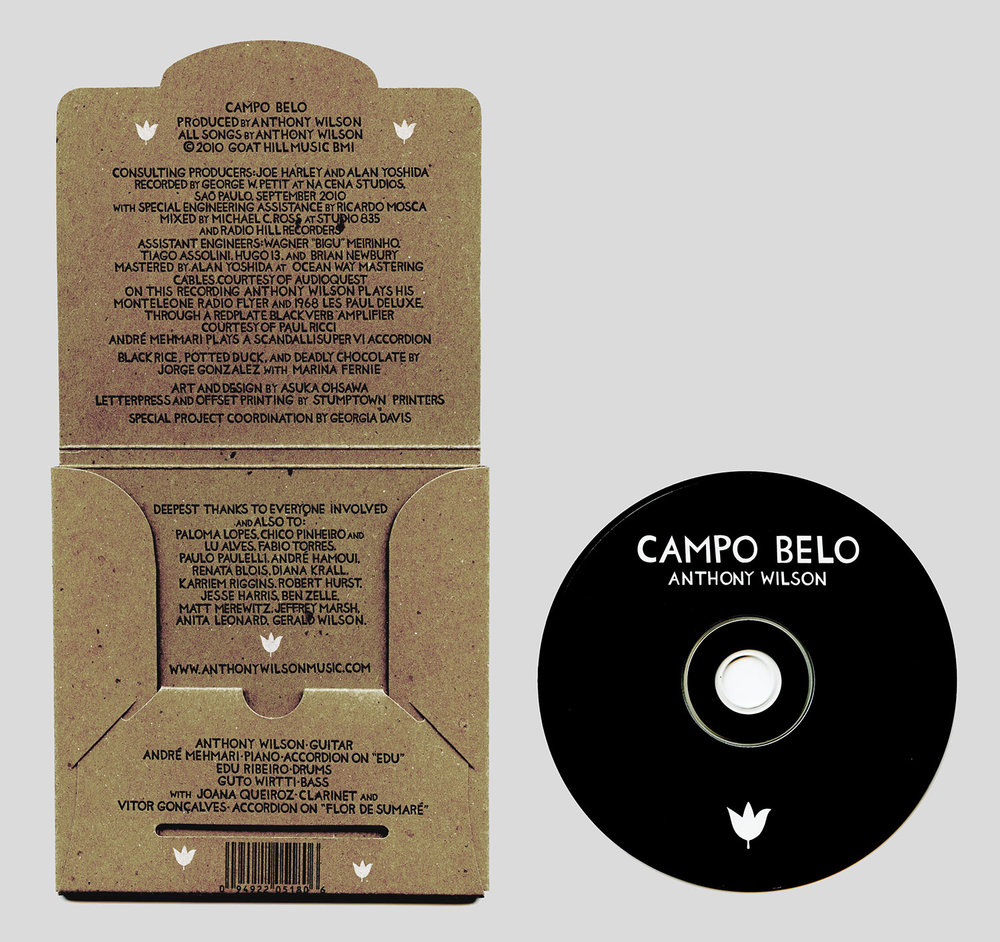 Campo Belo, Anthony Wilson   CD Cover, letterpress and offset. Printed by Stumptown Printers in Portland, OR. 2010.
