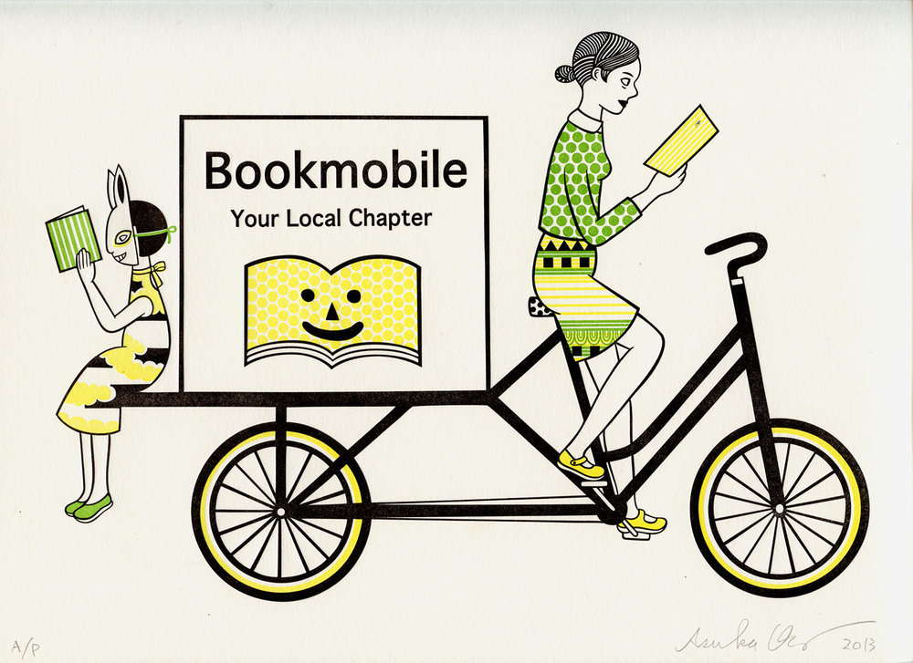 Bookmobile   Letterpress, 9.75 X 12 in, 2013. Edition of 50. Printed for the Center for Book Arts, NYC.