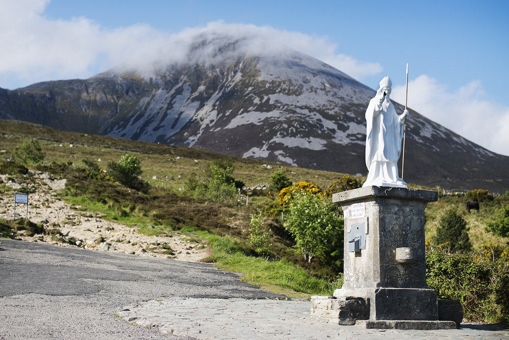 The statue of St Patrick at the base of Croagh Patrick, Co. Mayo, Ireland