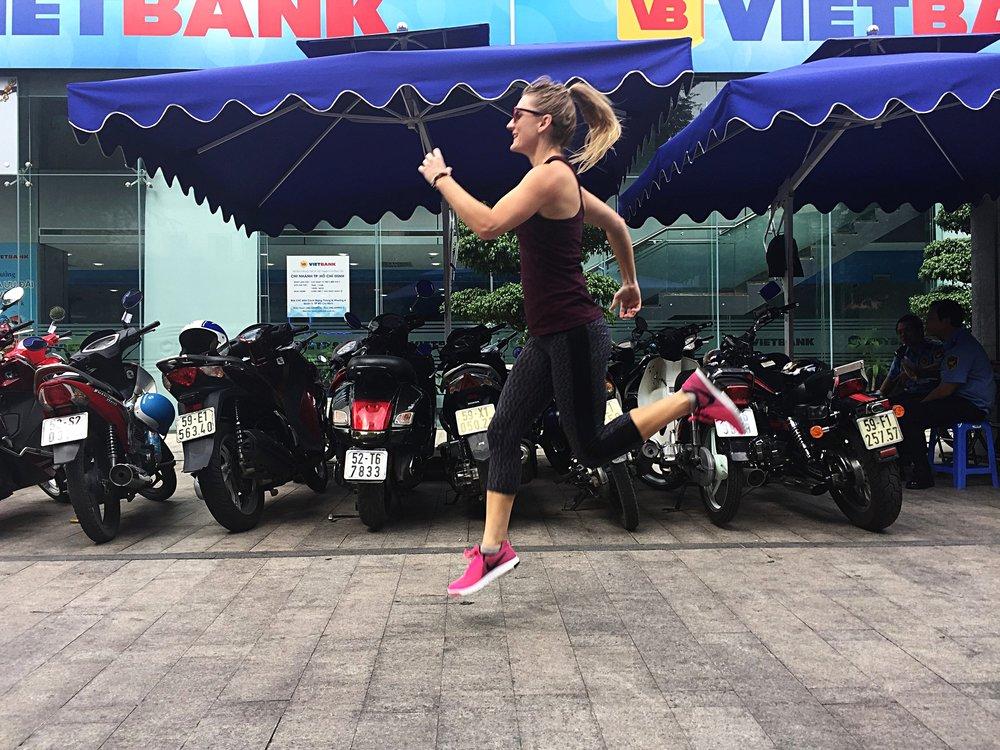 Dodging motorbikes in HCMC