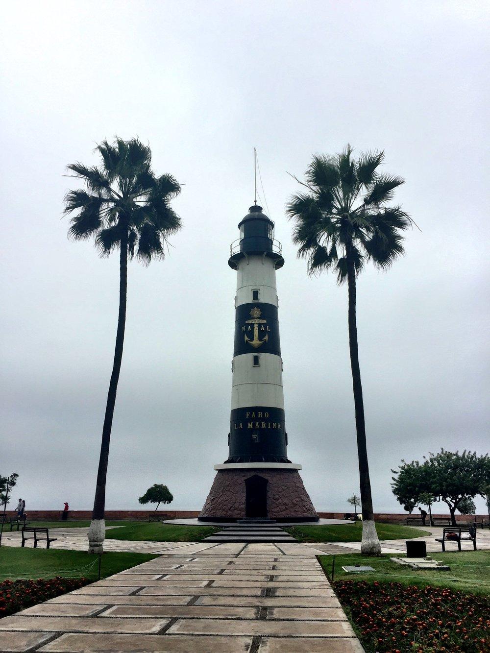 Miraflores Lighthouse along boardwalk