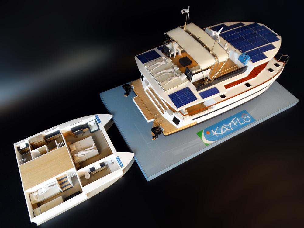 À gauche, une version des 8 versions d'aménagement des flotteurs