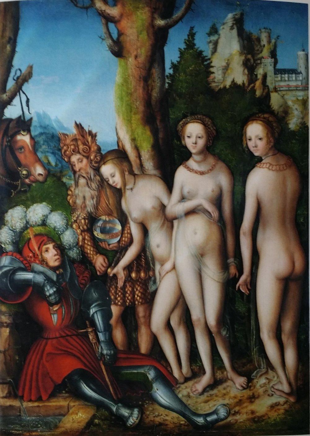 """Lucas Cranach d.Ä (1472-1553)., """"Das Urteil des Paris"""", Kunstdruck"""