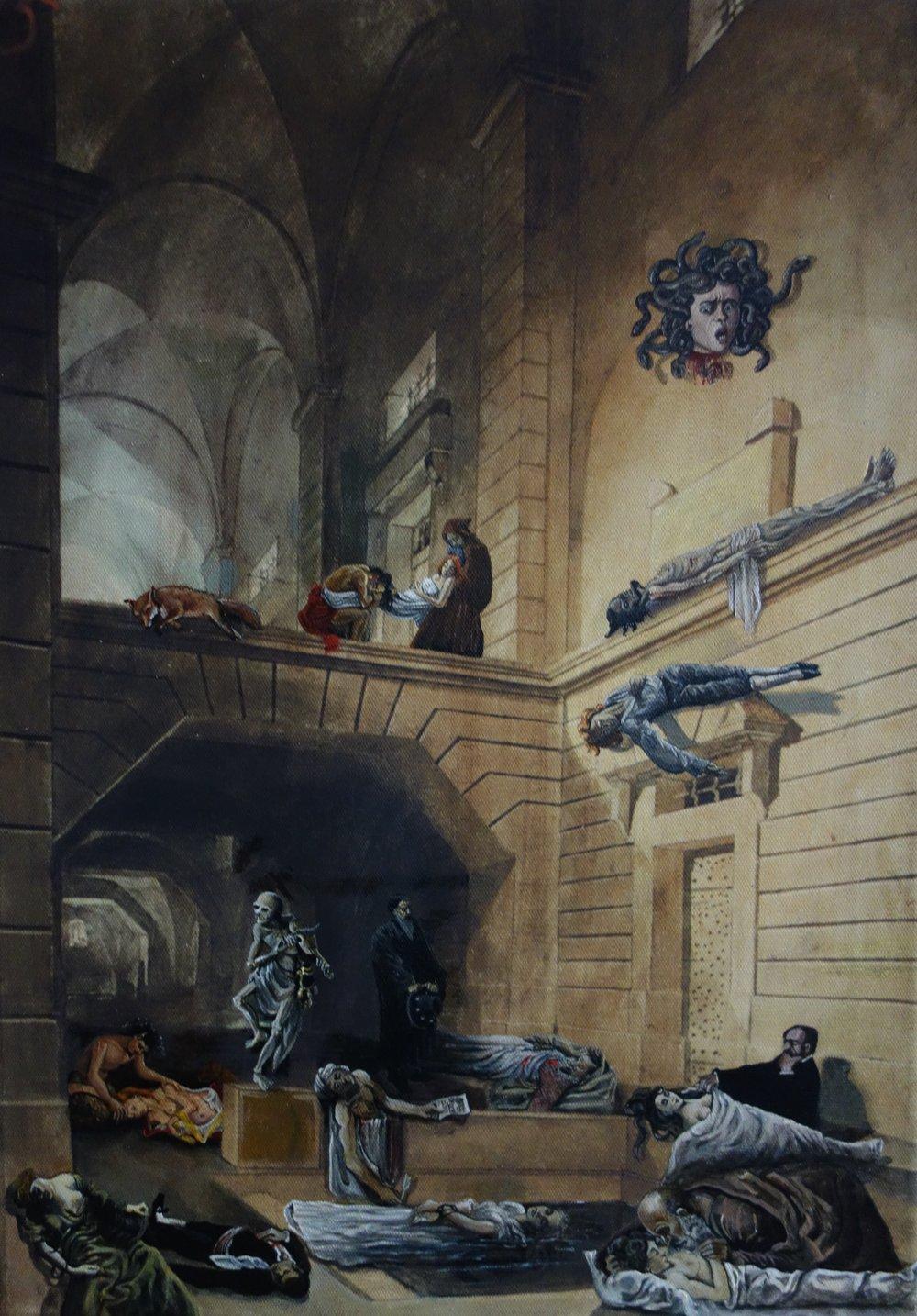 Leichen im Keller, 50 x 40 cm, Acryl auf Kunstdruck, 2017