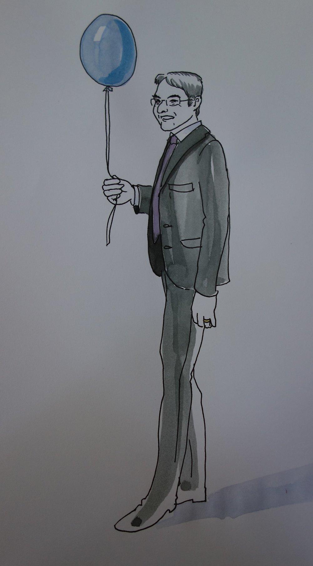 Bürgermeister, Standesamter und Ballonhalter in Personalunion.