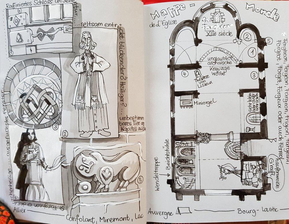 Das romanische Kirchlein von Bourg-Lastic hat einige denk- und manche merkwürdigen Elemente, u.a. ein Tier auf einem Kapitell, das selbst Experten nicht eindeutig bestimmen können.