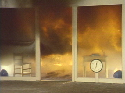"A bedroom built in test facility reaches ""flashover,"" when everything in the room is heated to ignition temperature. (From the film Fire: Countdown to Disaster.)"