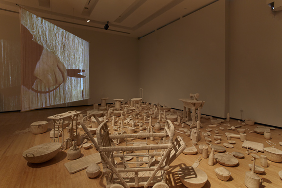 Installation View of Bound Unbound:Lin Tianmiao at Asia Society, New York.  Bound and Unbound ( 1995-1997) ©Michael Bodycomb