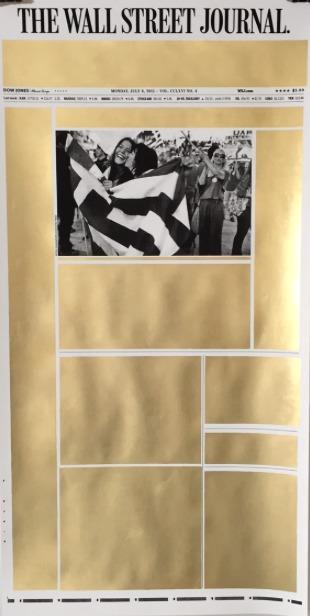 Panos Tsagaris  July 6 2015 , 2017  gold leaf on archival inkjet print 152 x 77 cm Courtesy Kalfayan Galleries, Athens - Thessaloniki