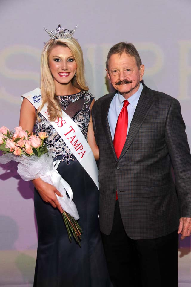Miss Tampa 2016 Morgan Boykin and Miss Tampa Scholarship Foundation Executive Director Robert J Clark jr.