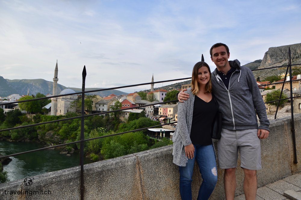Bri and I atop Mostar's iconic Old Bridge.