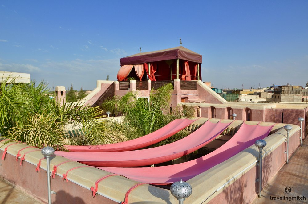 The roof terrace at Riad Anayela in Marrekesh, Morocco