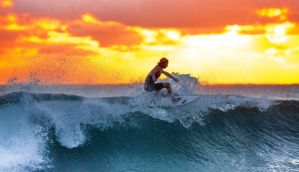 Surfing on the Ujung Origin Coast, Java, Indonesia
