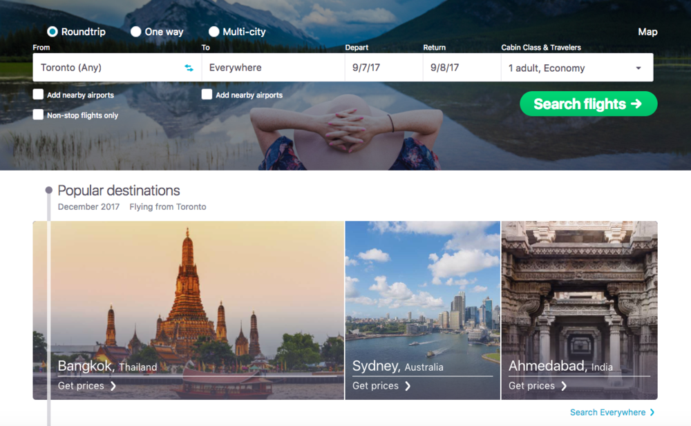 Skyscanner's Everywhere function