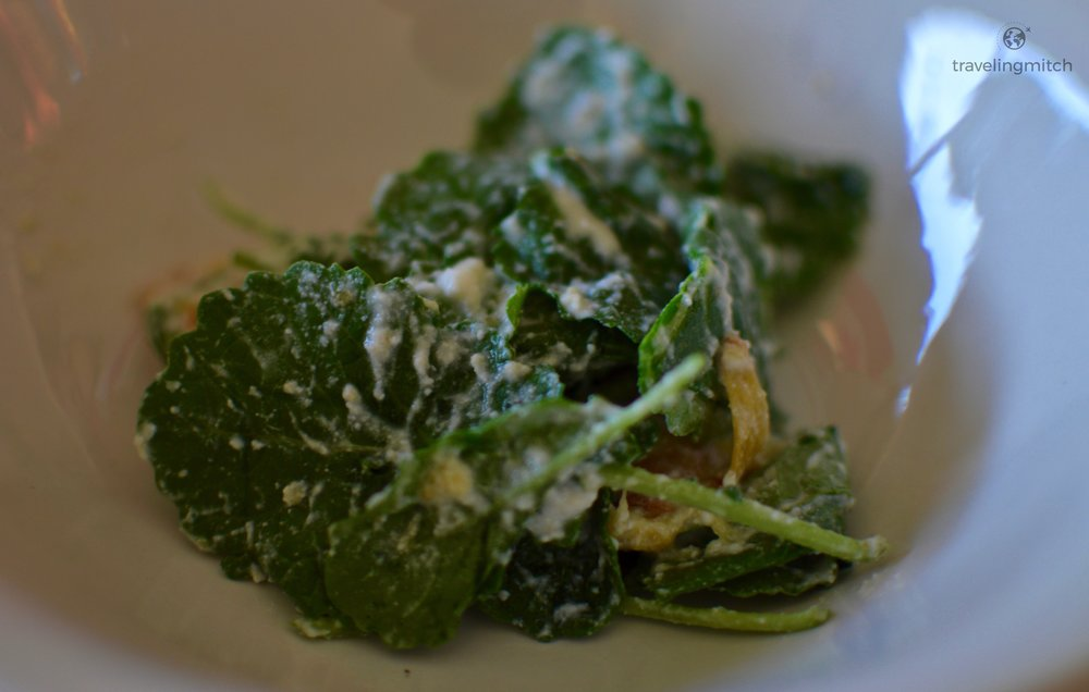 Farm to table  spinach, carmelized pear and ricotta salad