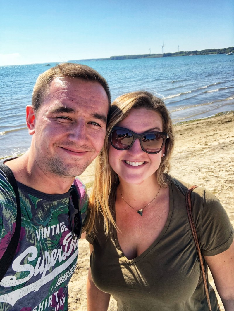 Bri and I taking in the rays on Port Dover Beach in Port Dover, Ontario in Norfolk County.