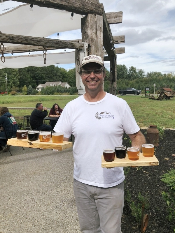 Tim Wilson of Charlotteville Brewing Company showing off the goods.