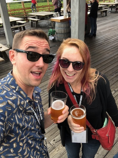 On the east side of the Seneca Lake Wine Trail with my pal Kathryn of  Kathryn Anywhere  and one of the co-founders along with myself of the  Toronto Bloggers Collective  And yes, I am wearing a peanut shirt, and yes we are drinking beer and not wine, but only for a moment!