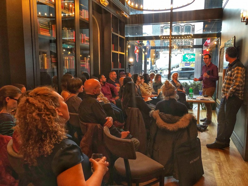 """Here I'm leading an """"Introduction to SEO"""" workshop for the organization I co-founded, the  Toronto Bloggers Collective."""