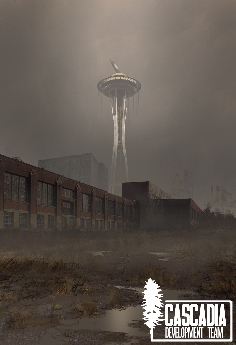 A view of the Space Needle from downtown