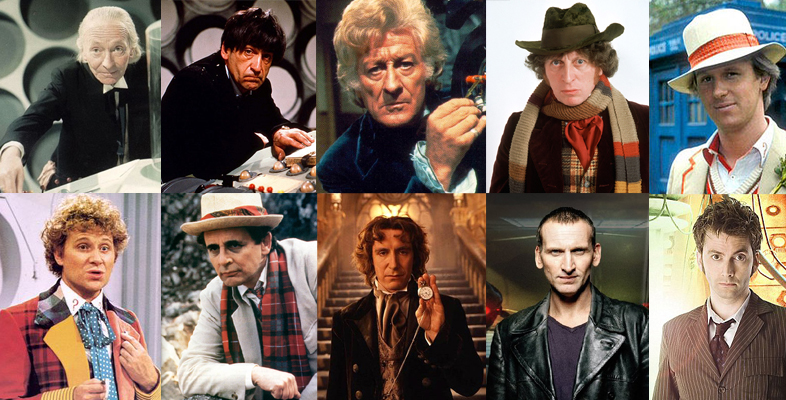 Top row (left-right): Doctors One through Five. Bottom row: Six through Ten.