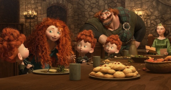 Princess Merida's family, featuring Billy Connolly as her father Fergus