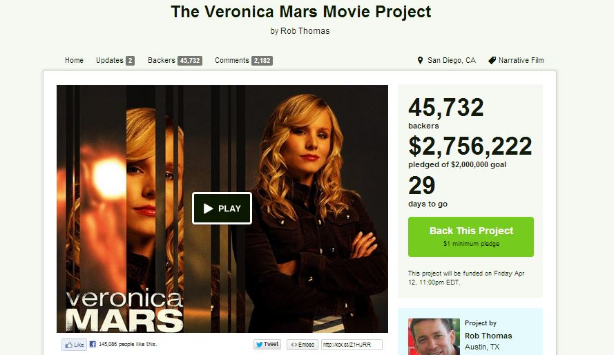 The 'Veronica Mars' Kickstarter is going viral over its explosive success