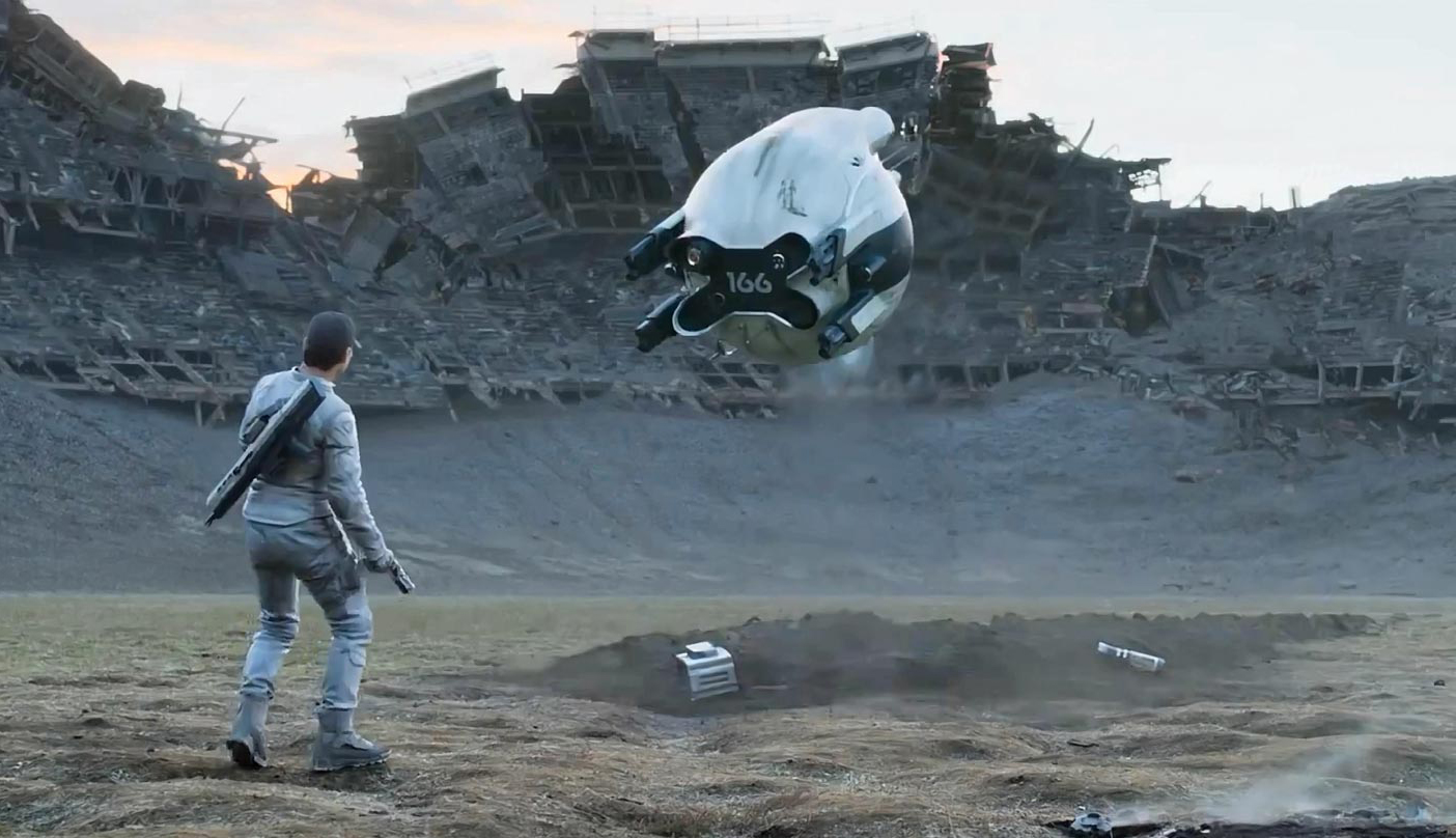 Jack Harper (Tom Cruise) works on a destroyed Earth, maintaining a fleet of security drones