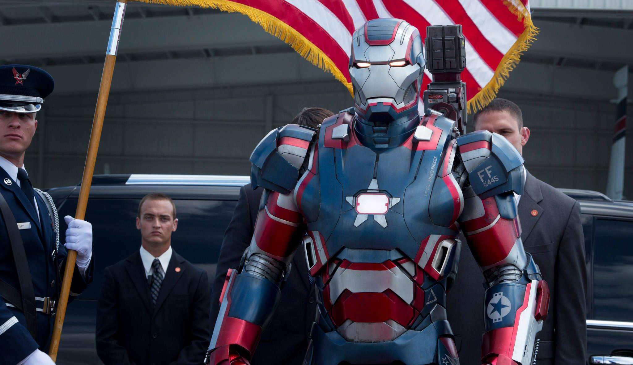 "War Machine is rebranded the ""Iron Patriot"" to help fight the threat of the Mandarin"
