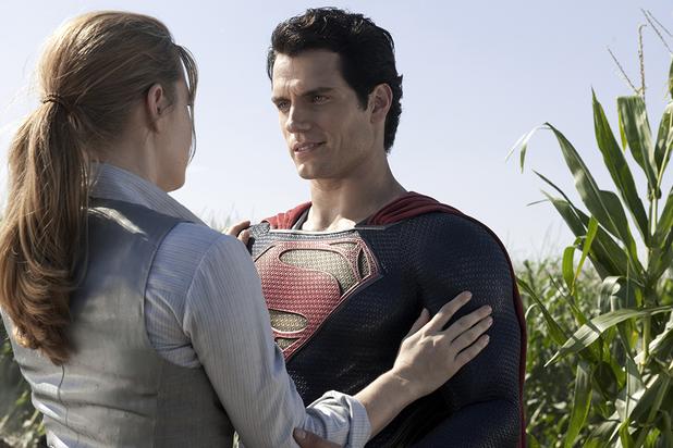 Henry Cavill as Superman/Clark Kent and Amy Adams as Lois Lane
