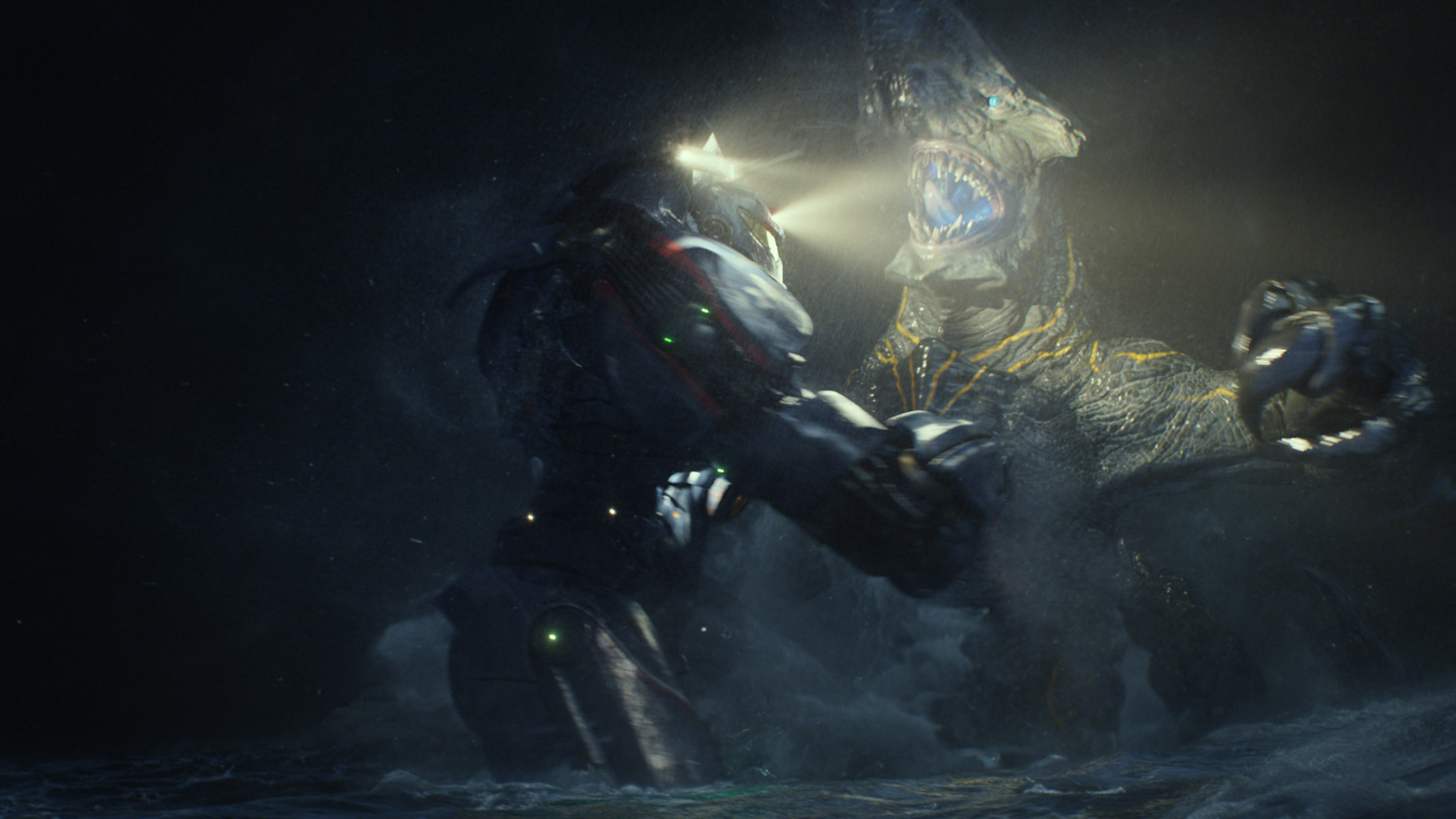 The 250-foot Jaegers fight against the monstrous Kaiju, who appear through a portal at the bottom of the Pacific.