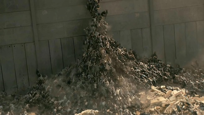 The zombies in the film have the ability to swarm over almost any obstacle