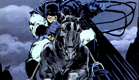 "A panel from Frank Miller's 1986 comic book arc ""The Dark Knight Returns"""