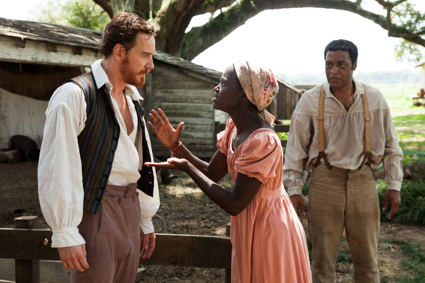 Michael Fassbender (left) as cruel plantation owner Edwin Epps and Lupita Nyong'o as his slave Patsey.