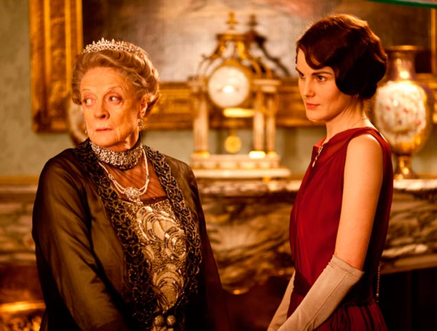 Dame Maggie Smith as the Dowager Countess of  Grantham, and Michelle Dockery as Lady Mary Crawley
