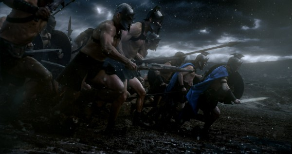 The Athenian army charges  in film's version of the Battle of Marathon.