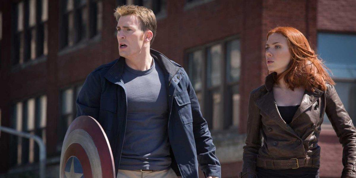 Chris Evans and Scarlett Johansson star in 'Captain America: The Winter Soldier'.