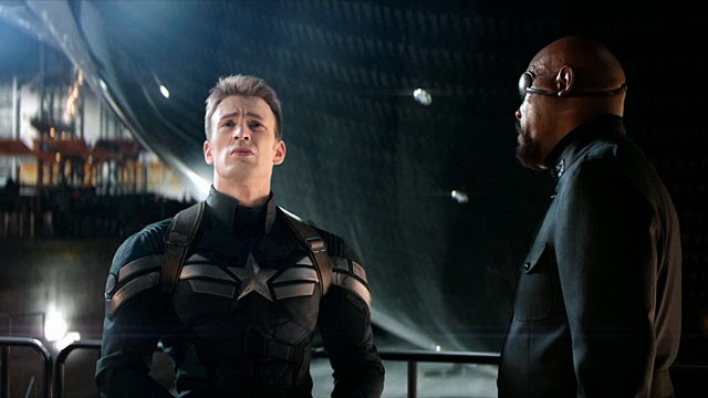Chris Evans as Captain Steve Rogers and Samuel L. Jackson as Nick Fury.