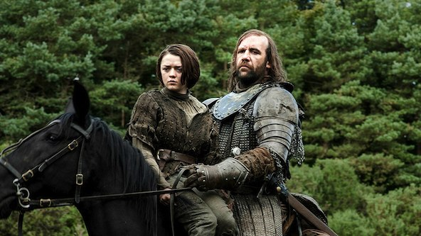 "Maisie Williams as Arya Stark and Rory McCann as Sandor 'the Hound"" Clegane."