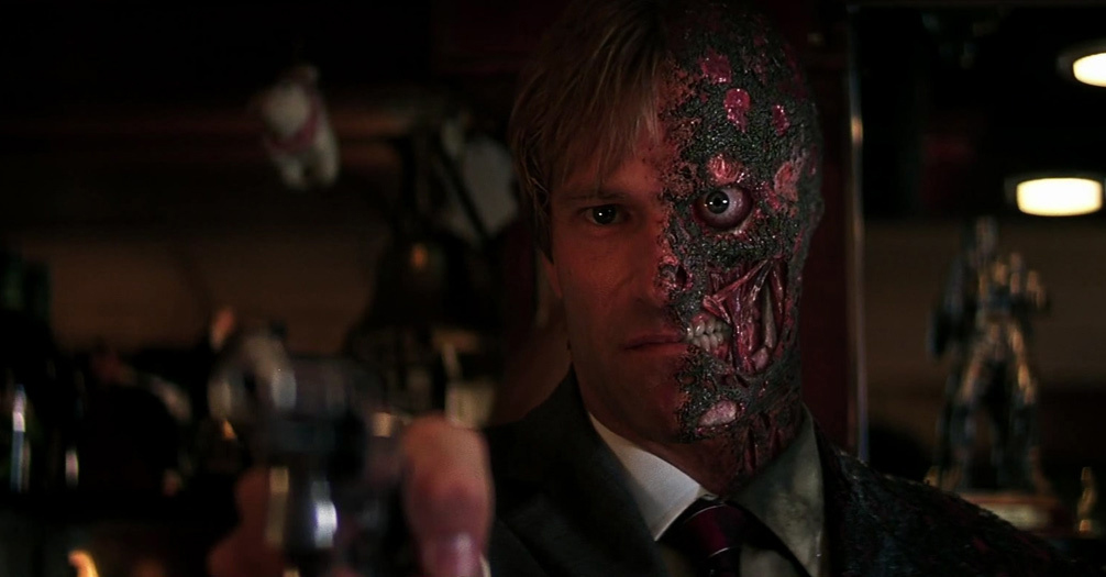 Aaron Eckhart stars as Harvey Dent/Two-Face in 'The Dark Knight'.