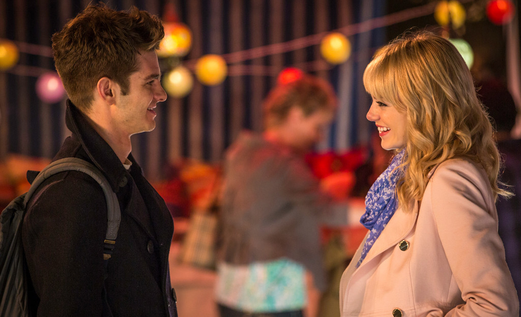 Andrew Garfield as Peter Parker and Emma Stone as Gwen Stacy in 'The Amazing Spider-Man 2'.