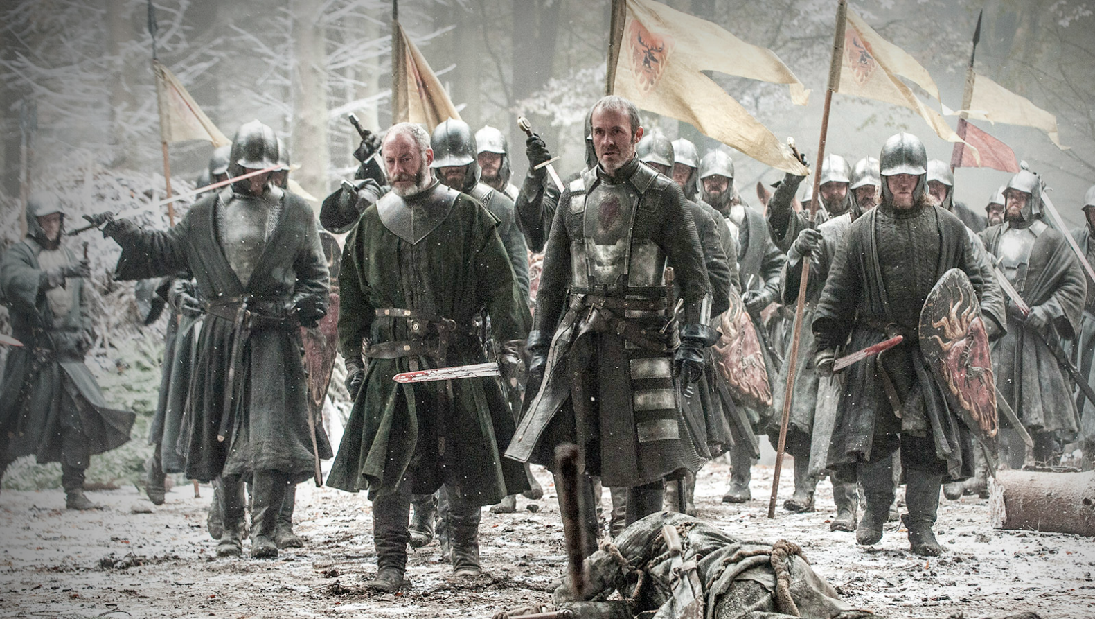 Liam Cunningham as Davos Seaworth (center left) and Stephen Dillane as Stannis Baratheon (center right)
