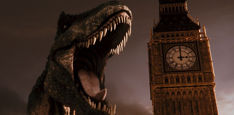 The episode opens with an oversized Tyrannosaurus in Victorian London